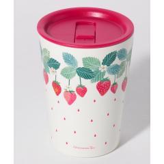 イチゴ蓋付きステンレスマグカップ