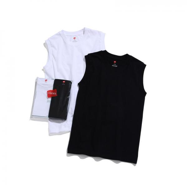 【Hanes for BIOTOP】Sleeveless T-Shirts(ホワイト×ブラック)【お取り寄せ商品】