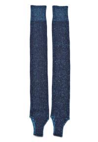 ミックス編みトレンカソックス ブルー