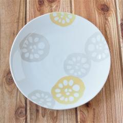 みのる陶器 レンコン 軽量7寸皿  黄 食器 陶器 美濃焼