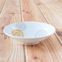 みのる陶器 レンコン 軽量5寸浅鉢 黄 食器 陶器 美濃焼