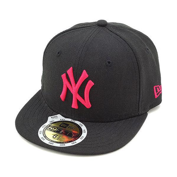 8903d906bc08e 送料無料 NEWERA ニューエラ NEWERA キャップ キッズ KIDS 59FIFTY ニューヨーク・ヤンキース ブラック/ストロベリー (