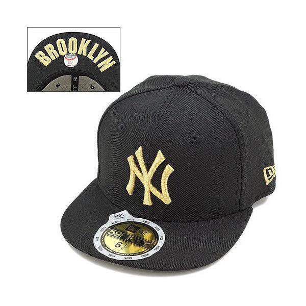 7d95f138a4e86 送料無料 NEWERA ニューエラ キャップ キッズ KIDS 59FIFTY ニューヨーク・ヤンキース ブラック/メタリックゴールド CAP
