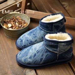 【SALE】emu エミュー オーストラリア シープスキン デニムブーツSTINGER DENIM MICRO スティンガー デニム マイクロ レディース 靴 INDIGO DENIM DISTRESS (W11376)
