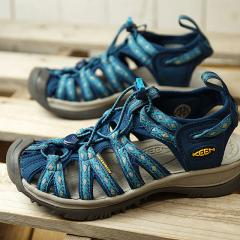 【SALE】送料無料 キーン KEEN サンダル ウィスパー W WHISPER [1014206 SS18] レディース スポーツサンダル キャンプ アウトドア 靴 POSEIDON/BLUE DANUBE ブルー系