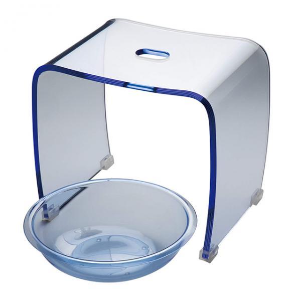 バスチェア&ボウルセット Lサイズ アクリル 送料無料 おしゃれ 風呂イス バススツール 風呂桶 ウォッシュボール バスセット 滑り止め付き ブルー