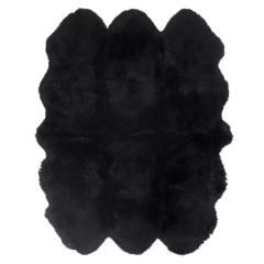 ムートンフリース ファーストレーベル 4匹物 ブラック ムートンラグ リアル ふわふわ ファー マット カーペット 裏無し