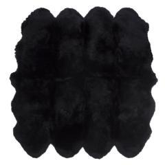 ムートンフリース ファーストレーベル 8匹物 ブラック ムートンラグ リアル ふわふわ ファー マット カーペット 裏無し