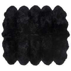 ムートンフリース ファーストレーベル 10匹物 ブラック ムートンラグ リアル ふわふわ ファー マット カーペット 裏無し