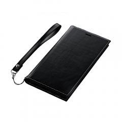 iPhone XR 手帳型ケース 薄型PUレザーフラップケース「PRIME」 ブラック