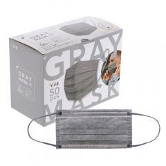 不織布マスク 50枚入/箱 個包装あり ふつうサイズ グレー BFEフィルター採用 大人用マスク 携帯用 使い捨てマスク +Life プラスライフ