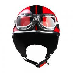 バイクヘルメット ハーフヘルメット ゴーグル付き ピュアレッド XEAM純正 耳あて着脱可能 SG規格 PSCマーク付き 排気量125cc以下