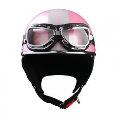 バイクヘルメット ハーフヘルメット ゴーグル付き シルキーピンク XEAM純正 耳あて着脱可能 SG規格 PSCマーク付き 排気量125cc以下