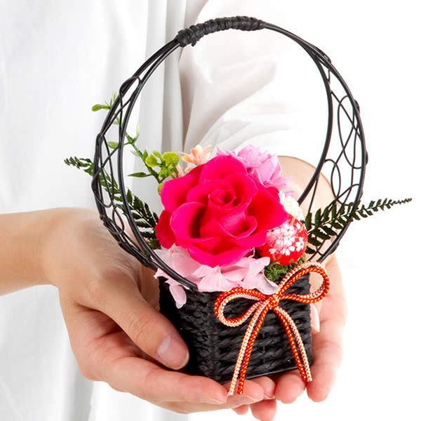 敬老の日ギフト 送料無料 りんどう鉢花とカステラのセット (※北海道・東北お届けは送料500円加算)