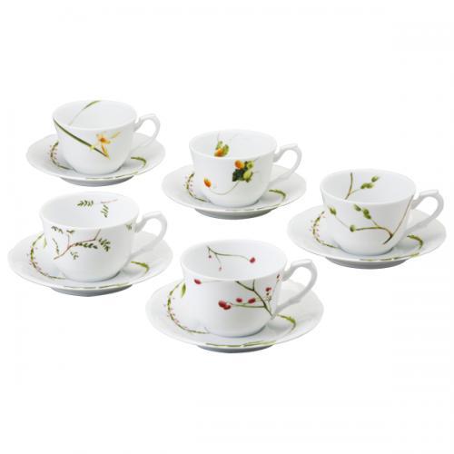ナルミ(NARUMI)里花暦 ティーコーヒー兼用カップ&ソーサー(5客) 260cc(40912-32953)