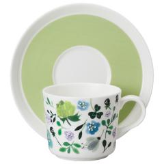 ナルミ(NARUMI)ANNA EMILIA  ティーコーヒー兼用カップ&ソーサー(クローバーガーデン) 220cc(51854-23117)
