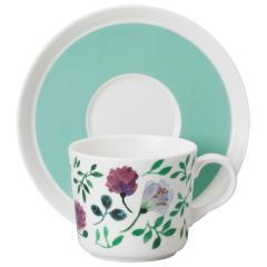 ナルミ(NARUMI)ANNA EMILIA  ティーコーヒー兼用カップ&ソーサー(グランドマザーズブーケ) 220cc(51857-23117)