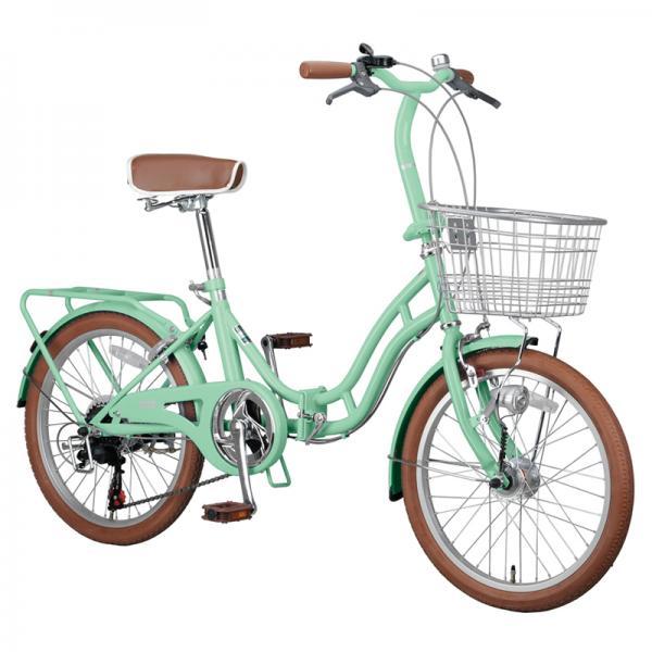 【送料無料】キャプテンスタッグ 折りたたみ自転車 ホワイトニングバレイFDB206BAA  20インチ  グリーン