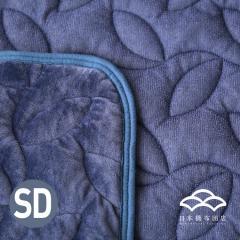 あったかシルキー&やわらかパイル リバーシブル敷きパッド セミダブルサイズ オールシーズン使える敷パッド ベッドパッド フランネル シンカーパイル ネイビー