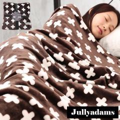 Jullyadams 毛布 ブランケット セミダブルサイズ クッションにもなるブランケット 軽くてあったかフランネル毛布 クロス柄ブラウン