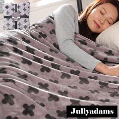 Jullyadams 毛布 ブランケット セミダブルサイズ クッションにもなるブランケット 軽くてあったかフランネル毛布 クロス柄グレー