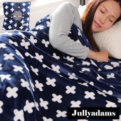 Jullyadams 毛布 ブランケット セミダブルサイズ クッションにもなるブランケット 軽くてあったかフランネル毛布 クロス柄ネイビー