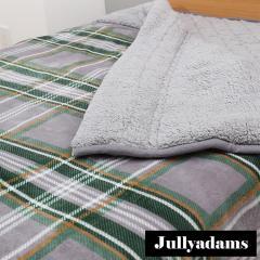 Jullyadams 2枚合わせ毛布 ダブルサイズ わた入りブランケット あったか毛布 吸湿発熱 HEATWARM TripleWarm グレー