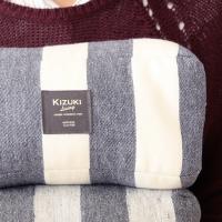 ゆる寝ビーズ枕 ネップボーダー 【日本橋布団店】 【KIZUKI Living】 ブルー/アイボリー