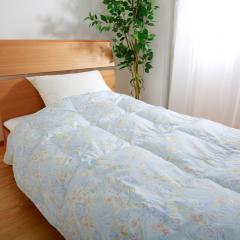 スヤラボ ウォッシャブル羽毛肌掛けふとん/サニーガーデン (シングルロング)150 x 210cm ブルー [送料無料] [昭和西川] [日本製]