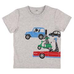 [EFD]アニマルのりものプリント半袖Tシャツ グレー 110