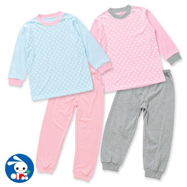 ddb0d21c41934b LOHACO - [EFD]水玉長袖パジャマ(ピンク×グレー) ブルー 120 (ルーム ...