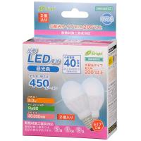 LED電球 ミニクリプトン形 E17 40形相当 昼光色 2個入 5.3W 450lm 広配光 78mm E-Bright 密閉器具 断熱材施工器具対応 LDA5D-G-E17IH202P 06-2946