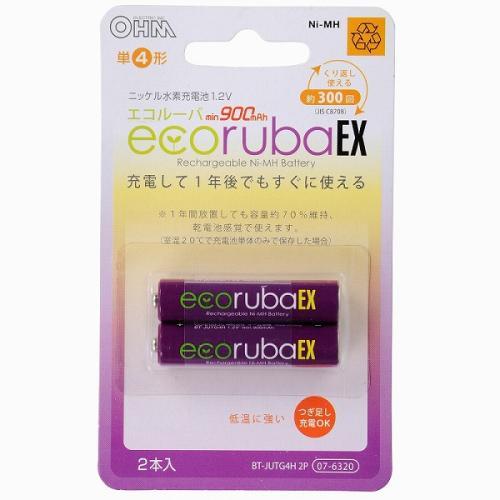 充電式電池 エコルーバEX 単4形×2本入 BT-JUTG4H 2P 07-6320