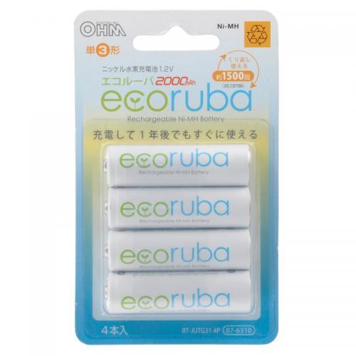 充電式電池 エコルーバ 単3形×4本入 BT-JUTG31 4P 07-6310
