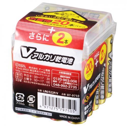単3形 Vアルカリ乾電池 22本パック ケース付 LR6/S22P/V 07-9750