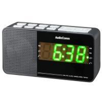 AudioComm AM/FM クロックラジオ ワイドFM 目覚まし時計 補完放送対応 RAD-T210N 07-7929