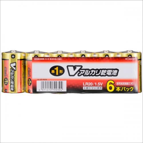 単1形アルカリ乾電池 Vアルカリ 6本パック_LR20/S6P/V 07-9939