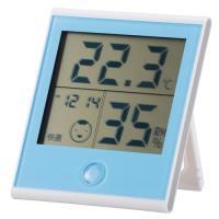 時計付き温湿度計 ブルー インフルエンザ 熱中症対策 温度計 湿度計 TEM-200-A 08-0021 OHM