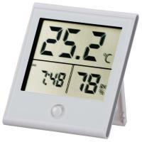 時計付温湿度計 白 TEM-210-W 08-0091 OHM