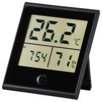 時計付温湿度計 黒 TEM-210-K 08-0092 OHM