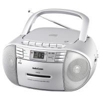 【送料無料】AudioComm ワイドFM CDラジオカセットレコーダー シルバー RCD-550Z-S 07-9805