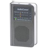 AudioComm AM/FMポケットラジオ ワイドFM グレー RAD-P601G-H 07-8602