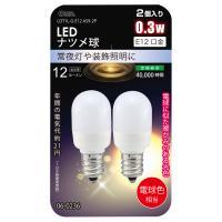 LEDナツメ球 E12 0.3W 電球色 2個パック LDT1L-G-E12AS9-2P 06-0236