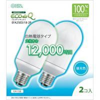 エコデンキュウ 電球形蛍光灯 一般電球形 100形相当 E26 昼光色 2個入 EFA25ED/18-2P OHM 06-0288