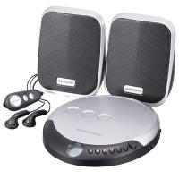 送料無料 ポータブルCDプレーヤーセット スピーカー付 CDP-798N AudioComm 07-8798
