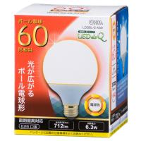 LED電球 ボール電球形 E26 60形相当 712ルーメン 6W 電球色 広配光240° 密閉器具対応 LDG6L-G AS9 06-0757