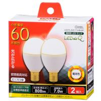 LED電球 ミニクリプトン形 E17 60形相当 7W 電球色 広配光200° 密閉器具 断熱材施工器具対応 2個入 LDA7L-G-E17IH9-2P 06-0781