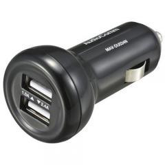 AudioComm DC充電器 USBカーチャージャー USB2ポート 2.4A+1.0A MAV-DU034N 03-3055 OHM