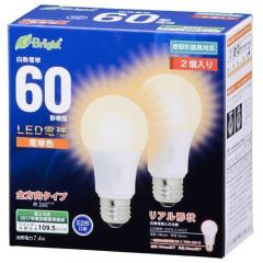 E-Bright LED電球 一般電球形 E26 60形相当 7.4W 電球色 2個入 全方向タイプ 106mm LDA7L-GAG222P 06-0693 OHM オーム電機