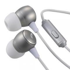ステレオイヤホン スマホ対応 マイク付 シルバー AudioComm HP-B162N-S 03-2247 オーム電機